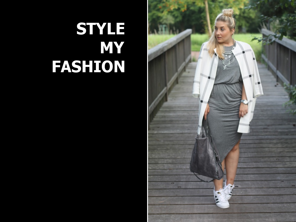hellgraues klassisches kleid kombinieren 39 graues kleid und sneaker 39 damen kleid grau bilder. Black Bedroom Furniture Sets. Home Design Ideas