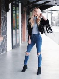 Schwarze Lederjacke kombinieren: 'Schwarze Wildlederjacke mit Fransen und silbernen Details' (Damen, Jacke, schwarz, Bilder) | Style my Fashion