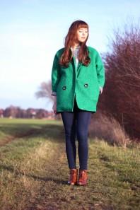 grüner Kurzmantel   Green coat   Style my Fashion