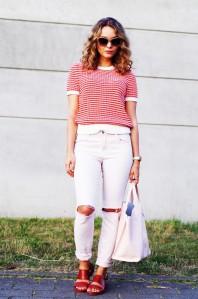 Rot/weißer Strickpullover kombinieren: 'kurzärmliges Strickshirt' (Damen, Pullover / Sweater, rot, weiß, Bilder) | Style my Fashion