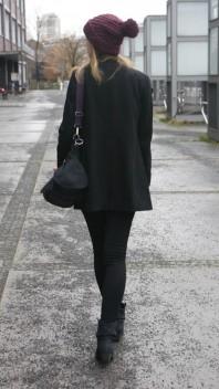 schwarzer, schöner Mantel | burgundy on top | Style my Fashion