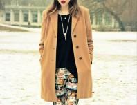 beiger Mantel   print leggings   Style my Fashion