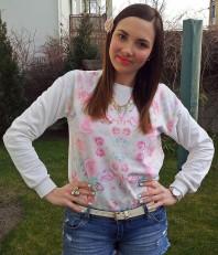 weißes Sweatshirt mit Blumenprint