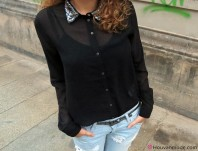 Bluse mit Pailettenkragen   Boyfriend Jeans   Style my Fashion
