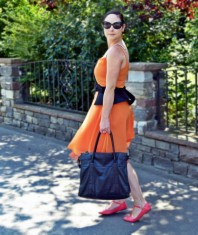 Orange dress & Peplum belt