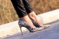 JOAQUIM FERRER Python Embossed leather Stilettos
