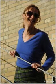 Cool Colors: Blue Cashmere Mix w/ Vivienne Westwood Tartan Skirt
