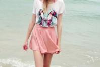 Violett/mintblau/pink/mintgrün/weißes T-Shirt kombinieren: 'Tropical Island Shirt' (Damen, Shirt, violett, blaugrün, rosa, blau, grün, weiß, Bilder) | Style my Fashion