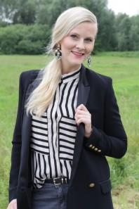Schwarz/beige klassische Bluse kombinieren: 'Bluse' (Damen, Bluse, schwarz, braun, gelb, Bilder) | Style my Fashion