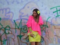 luftiger Pullover in neon pink  | Gelbe Spitze | Style my Fashion