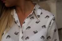 gemusterte Bluse mit Leopardenköpfen   Leopard Faces   Style my Fashion