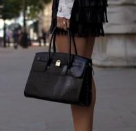 schicke Krokodilleder-Handtasche in schwarz | Leopard Faces | Style my Fashion