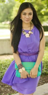 kurzes lila Kleid mit Gürtel | Lavender Rain | Style my Fashion