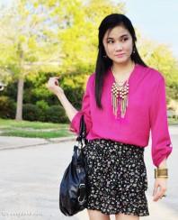 schwarzer Rock mit violetten Blumenmuster   Ein Traum in Ma...   Style my Fashion