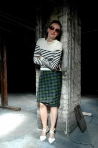Mix it: Tartan Skirt & Stripes