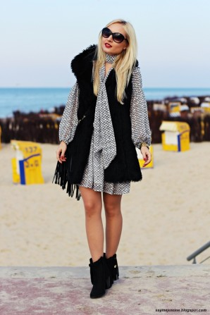 boho dress & fur vest | Style my Fashion