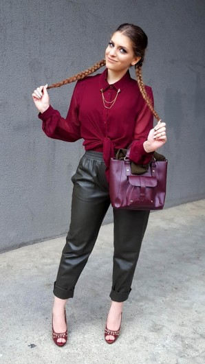 Beeren Hemd + Khaki Lederhose | Style my Fashion