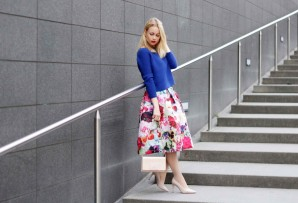 FLORAL SKIRT & NUDE PUMPS | Style my Fashion