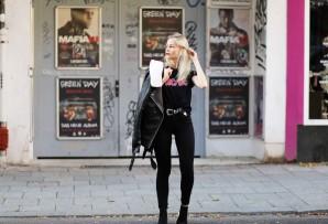 BLACK LEATHER & BAND SHIRT | Style my Fashion