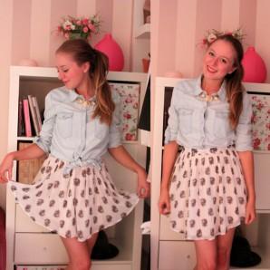 Denim and Chiffon   Style my Fashion