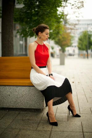 two toned pleated skirt | Style my Fashion