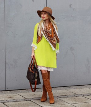 Lime dress & brown boots | Style my Fashion