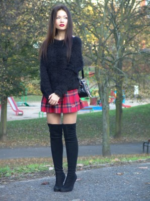 Tartan skirt & over the knee boots | Style my Fashion
