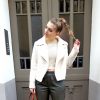 nude fleece coat + khaki leather pants + pullover + ponytail + pointed heels | Style my Fashion