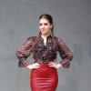 leather midi skirt + leoprint blouse + pointed heels + knit cardigan | Style my Fashion