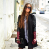 burgundy long gloves and stripes | Style my Fashion