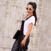 BLACK LEATHER DUNGAREE