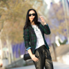 Leather Baggy Trousers and Checkered Blazer | Style my Fashion