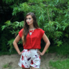 Klatschmohnprint und Erdbeerrot