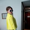 Yellow Blazer + Highwaist Pants + Flowerprint Shirt + Sunglasses | Style my Fashion
