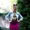 OOTD - Bow Hair - long Skirt + denim jeans jacket + gold aztek Crop Top | Style my Fashion
