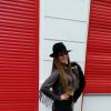 Chic Western Girl Burberry Scarf + fur jacket + black hat + skirt + fishnets | Style my Fashion