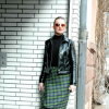 Citystyle: Tartan Pencil Skirt & Patent Leather Jacket