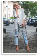 Grey Poncho and Frings Pumps | Style my Fashion