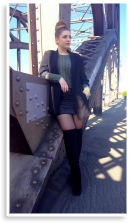 Overknees Boots + tights + Oversize Blazer + oliv knit sweater   Style my Fashion