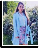 blue coat + flower print skirt - wedding guest look | Style my Fashion