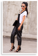 BLACK LEATHER DUNGAREE | Style my Fashion