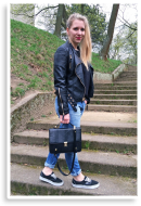 Leather mixed with Boyfriend Jeans.   Style my Fashion